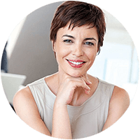 lady with short hair smiling