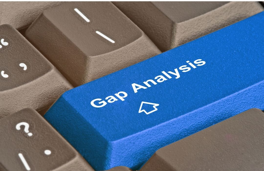 Image that shows the Gap Analysis word | Featured image for Benefits of QMS Implementation blog.